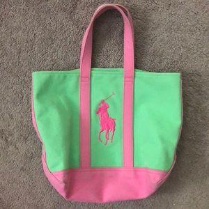Ralph Lauren Canvas Green & Pink Tote